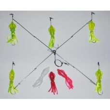 4 Arm Umbrella Rig with 5 inch Squid Bodies & 7/0 Octopus Hooks