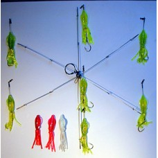 6 Arm Umbrella Rig with 5 inch Squid Bodies & 7/0 Octopus Hooks
